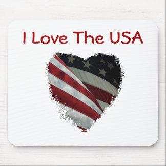 アメリカのハートの旗 マウスパッド