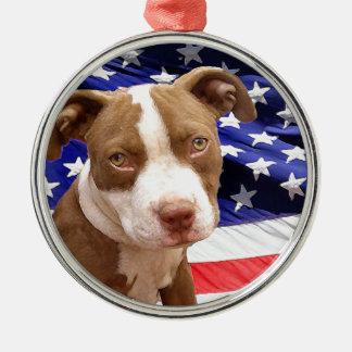 アメリカのピットブルの子犬 メタルオーナメント
