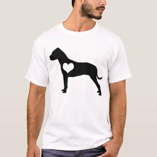 アメリカのピット・ブルテリアのハートメンズTシャツ Tシャツ