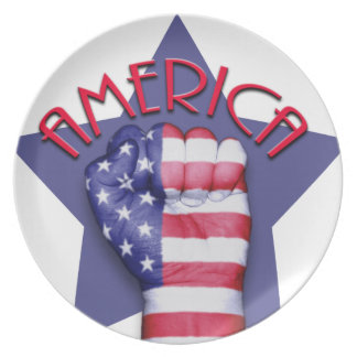 アメリカのプライドの握りこぶし プレート