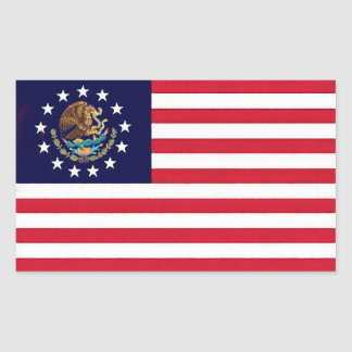 アメリカのメキシコ旗のステッカー 長方形シール