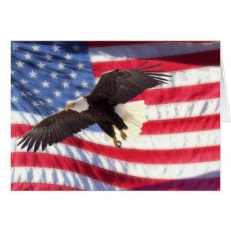 アメリカのワシおよび旗のメッセージカード カード