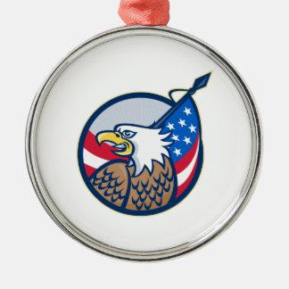 アメリカのワシの星条旗の旗のレトロ メタルオーナメント