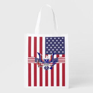 アメリカのワシの記号および旗 エコバッグ