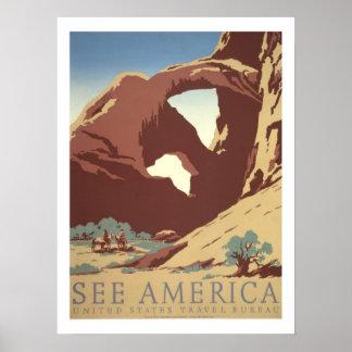 アメリカのヴィンテージ旅行 ポスター