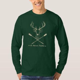 アメリカの伝統: シカの弓狩りの人 Tシャツ