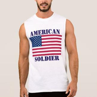 アメリカの兵士の米国旗 袖なしシャツ