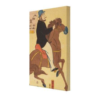 アメリカの喫煙のタバコ間Horsebackriding キャンバスプリント