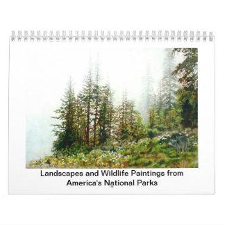 アメリカの国立公園からの絵画 カレンダー