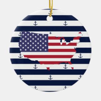 アメリカの地図の旗|航海のでストライプなパターン セラミックオーナメント