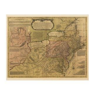 アメリカの地図(1765年)のイギリスのコロニー ウッドウォールアート