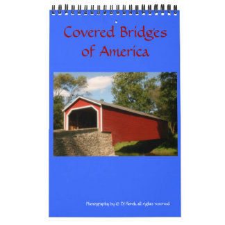 アメリカの壁掛けカレンダーの屋根付橋 カレンダー