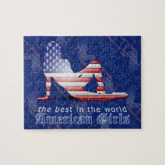 アメリカの女の子のシルエットの旗 ジグソーパズル