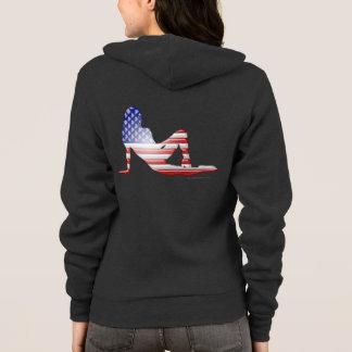 アメリカの女の子のシルエットの旗 パーカ