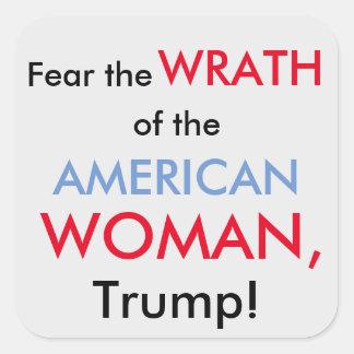 アメリカの女性対切札のステッカー スクエアシール