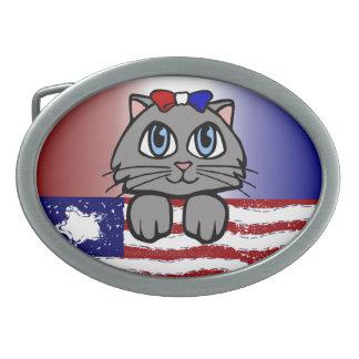 アメリカの心臓地帯の子猫 卵形バックル