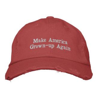 アメリカの成人の赤い帽子を再度作って下さい 刺繍入りキャップ