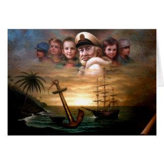 アメリカの方法の大尉そして5人の子供の地図を描いて下さい カード