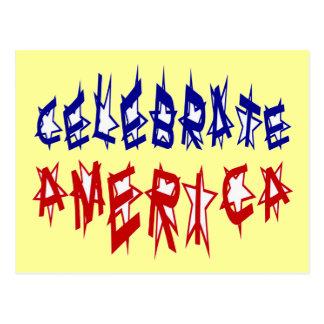 アメリカの旗のフォント#2を祝って下さい ポストカード