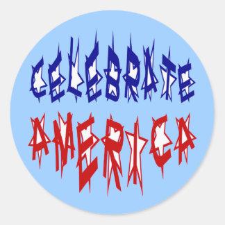 アメリカの旗のフォント#2を祝って下さい ラウンドシール