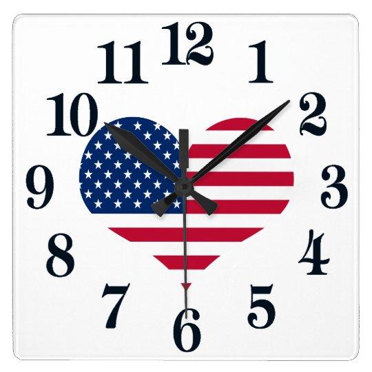 アメリカの旗アメリカ米国のハート スクエア壁時計