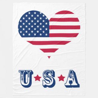 アメリカの旗アメリカ米国のハート フリースブランケット