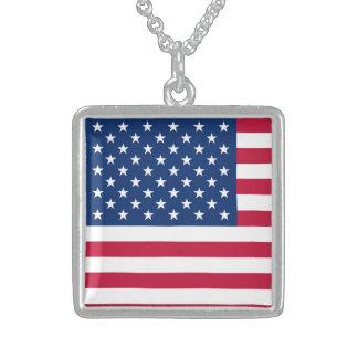 アメリカの旗アメリカ米国 スターリングシルバーネックレス