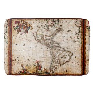 アメリカの旧式な南北地図の新しい世界のヴィンテージ バスマット