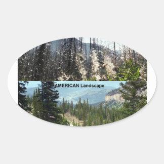 アメリカの景色の写真撮影 楕円形シール