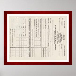 アメリカの最初所得税の型枠1040の赤 ポスター
