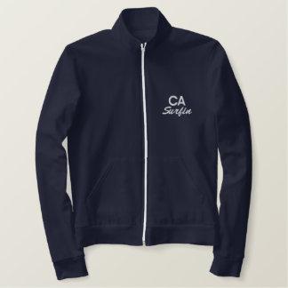 アメリカの服装のジッパートラックジャケット 刺繍入りジャケット