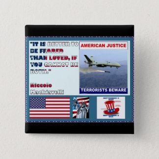 アメリカの正義の空軍無人機のテロリストは用心します 缶バッジ