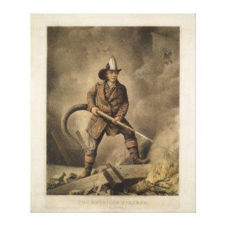 アメリカの消防士: 敵に直面します(1858年) キャンバスプリント