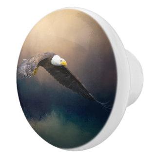 アメリカの白頭鷲を飛ばす絵画 セラミックノブ
