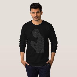 アメリカの祈りの言葉の長袖のTシャツ(黒) Tシャツ
