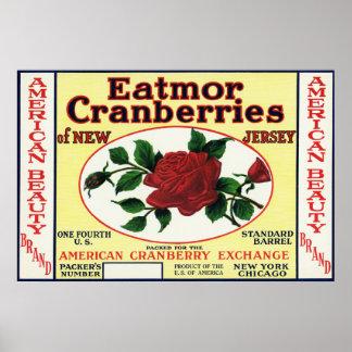 アメリカの美しいのEatmorのクランベリーのブランド・ラベル ポスター