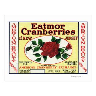 アメリカの美しいのEatmorのクランベリーのブランド・ラベル ポストカード