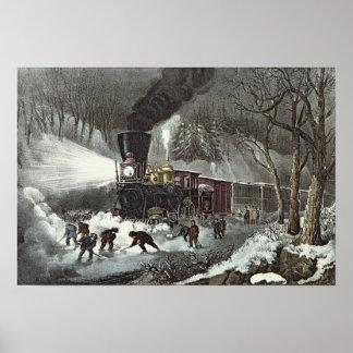 アメリカの鉄道場面1871年 ポスター