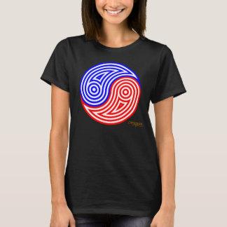 アメリカの陰陽の赤く、白い及び青い縞 Tシャツ