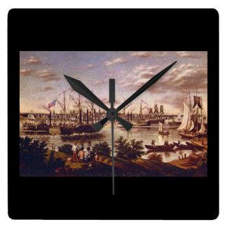 アメリカの1836_Artのデトロイトの眺め 壁時計