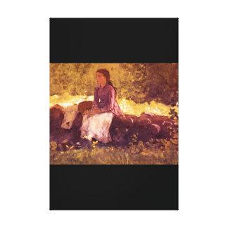 アメリカのFence', Winslow Homer_Art キャンバスプリント