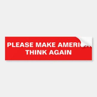 アメリカを再度考えさせます バンパーステッカー