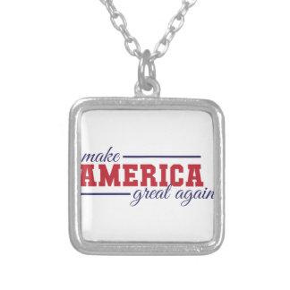 アメリカを素晴らしく再度させて下さい シルバープレートネックレス