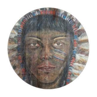 アメリカインディアン: 装飾的なガラスまな板 カッティングボード