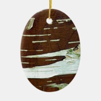 アメリカシラカンバの自然な樹皮 セラミックオーナメント
