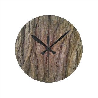 アメリカツガの樹皮の柱時計 ラウンド壁時計