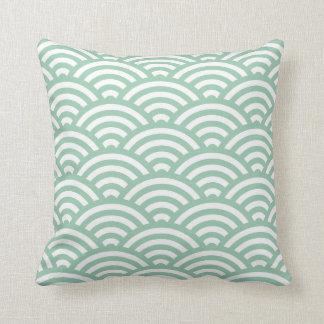 アメリカツガの緑の波の幾何学的な枕 クッション