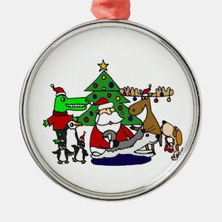 アメリカヘラジカおよびペンギンとのおもしろいなサンタのクリスマスの芸術 メタルオーナメント