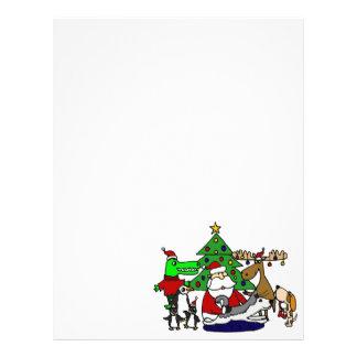 アメリカヘラジカおよびペンギンとのおもしろいなサンタのクリスマスの芸術 レターヘッド