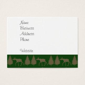 アメリカヘラジカのオオカミの松の木の素朴なタンの野生の緑 名刺